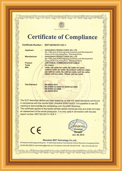 Lan Cable CE Certificate